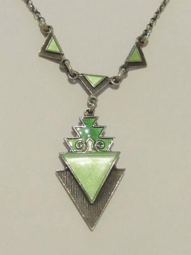 Art Deco Norway Sterling Silver Enamel Necklace Norne Aksel Holmsen