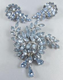 Vintage Australian Donald Simpson Original Blue Brooch & Earrings