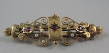 Antique Australian 9ct Gold Red Stone Seed Pearl Brooch Victorian Jeweller's Association Hallmark
