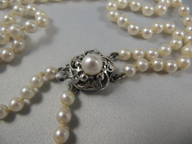 Vintage Double Strand Cultured Pearl Necklace Sterling Silver Clasp.