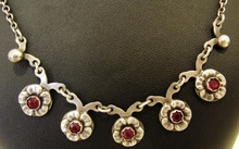 Vintage Danish Sterling Silver & Garnet Necklace Hermann Siersbol Denmark