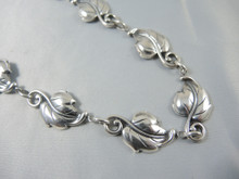 Vintage Sterling Silver Danecraft Leaf Link Necklace