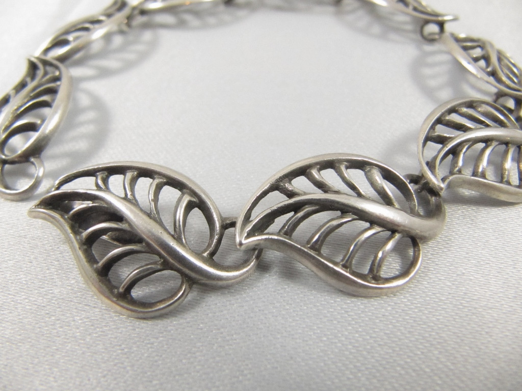Rare Vintage Danish Just Andersen Sterling Silver leaf bracelet. Loading  zoom