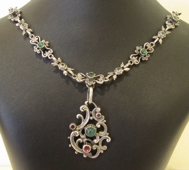 Antique Solid Silver Portuguese Gem Stone Filigree Necklace