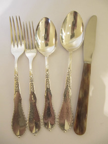 8 Person Vintage Danish DANA Silver Plate Hammered Design Cutlery Set