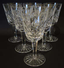 Six Vintage Waterford Crystal Lismore White Wine Glasses