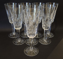 8 Vintage Waterford Crystal Lismore Champagne Flutes Glasses
