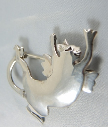 Australian Designer Christine Pyman Sterling Silver Flying Cat Brooch