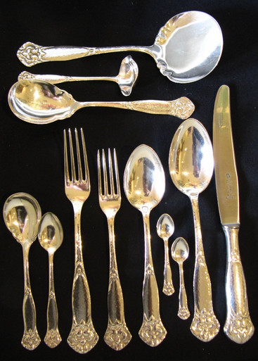 12 Person Antique Danish Silver Plate Hammered Design Cutlery Set c1910