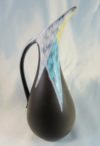 Danish Mid Century Modern Art Pottery Soholm Burgundia jug / vase.