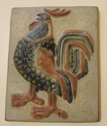 Danish Mid Century Modern Art Pottery Michael Andersen Rooster Plaque