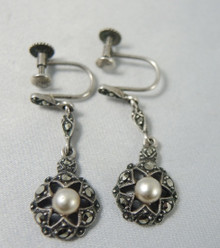 Art Deco Sterling Silver Marcasite Cultured Pearl Drop Earrings Germany