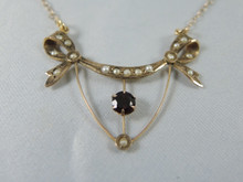 Antique Australian 9ct Gold Garnet & Seed Pearl Necklace
