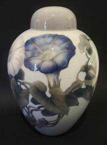 1920's Art Nouveau Danish Bing & Grondahl Morning Glory Lidded Jar