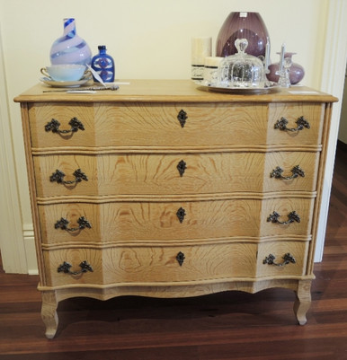 Vintage Solid French Oak Chest of Drawers.