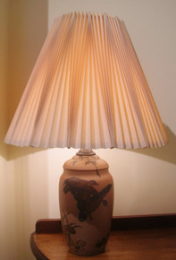 Art Deco Danish Hjorth Ducks in Flight Lamp with pleated shade
