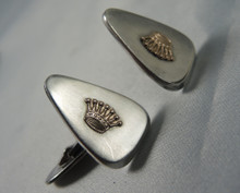 Vintage Danish Sterling Silver cuff links with golden crown design
