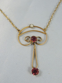Antique Art Nouveau Australian 9ct Gold Red Stone & Seed pearl Necklace