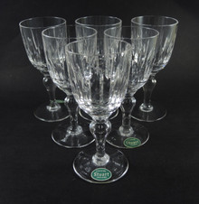 Six Vintage Stuart Crystal Hampshire Port Wine Goblets Glasses