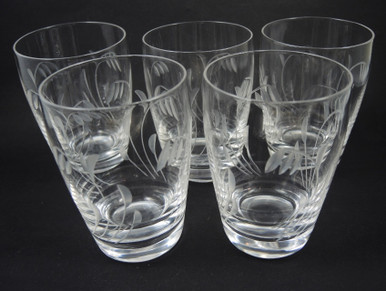 5 Vintage Stuart Crystal Elgin Large Barrel Tumblers Glasses