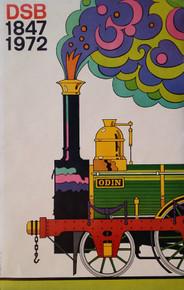 Vintage 1972 Danish Railways DSB Framed Poster Ib. K. Olsen
