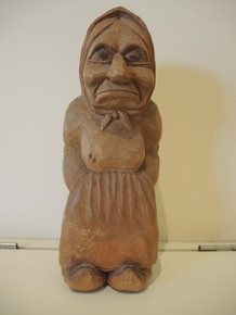 Extremely rare 1930's Thomas Dam hand carved fisher wife Gjol troll