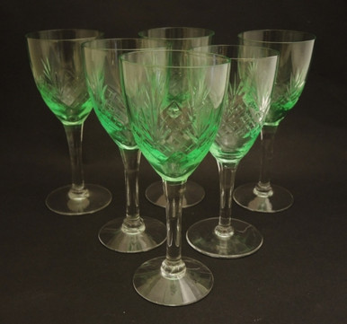 6 Vintage Holmegaard Else White Wine glasses Uranium Glow 1919