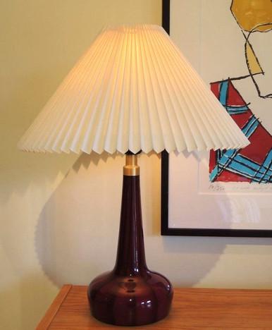 Vintage Le Klint 311 Table Lamp in Ox Blood Stripe Danish pleated shade