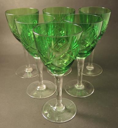 6 Vintage Green Holmegaard Else White Wine glasses 1923