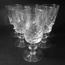 6 Danish Lyngby Eaton Cut Fine Crystal 105mm Wine Glasses