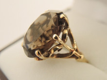 Vintage 9ct Rose Gold Smoky Quartz Ring-Size M