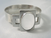 Australian Vintage Modern Per Sterling Silver Rock Crystal Bangle