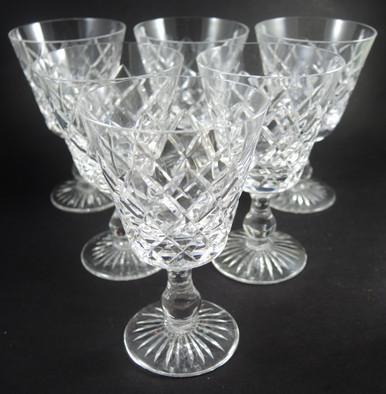 Six Vintage Stuart Crystal Classic Diamond Cut Design White Wine Glasses
