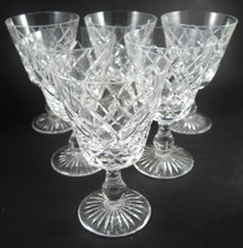Six Vintage Stuart Crystal Classic Diamond Cut Design White Wine Glasses