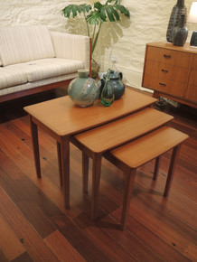 Vintage Australian Noblett Nest of three Teak coffee tables