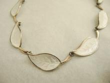 Vintage Danish Sterling Silver Enamel Leaf Necklace by Meka