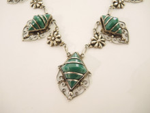 Art Deco Vintage Sterling Silver Mexican Jade necklace