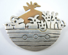 Vintage Mexican Sterling Silver Noah's Ark Brooch or Pendant.