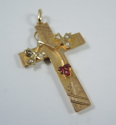 Antique Australian 9ct Gold Seed Pearl Cross Pendant - Rare J Lawrence Melbourne