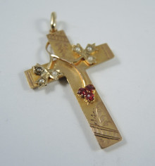 Antique Australian 9ct Gold Seed Pearl Cross Pendant - Rare J Lawrence Melbourne