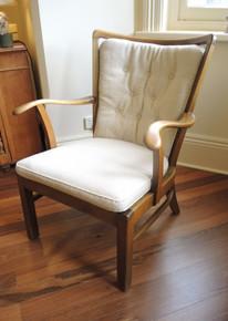 Vintage Danish Beech Spindle Back Armchair original Woollen Upholstery