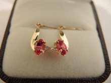 Vintage 9ct gold Ruby & Diamond Drop Earrings