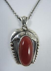 Vintage Sterling Silver John Lauritzen Carnelian Pendant on chain