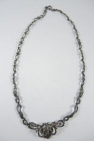 1940's Vintage Sterling Silver & Marcasite Necklace