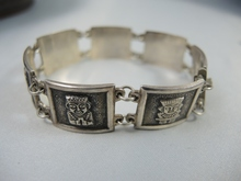 Vintage American Coin Silver Aztec Motif Bracelet