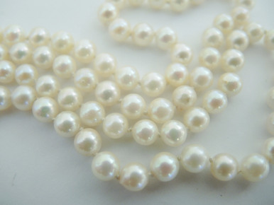 intage Cultured Akoya Pearl Necklace 18ct Gold Clasp.