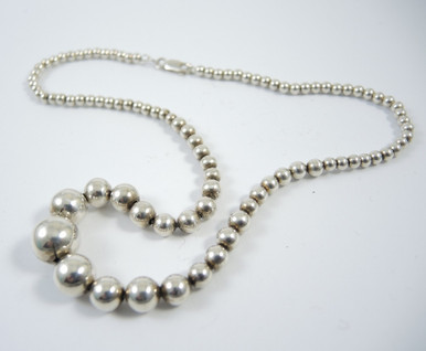 Vintage Italian Sterling Silver Graduated Ball Necklace