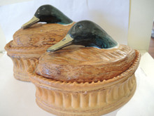 2x Vintage French Pillivuyt Game Mallard Drake Duck Toureens / Terrine Size 5 & 3
