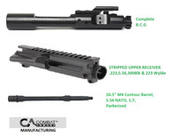 Combat Armory Stripped Upper Receiver  NATO Bolt Carrier Group 10.5 inch 5.56 Barrel Combo