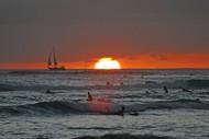 Waikiki Beach At Sunset, Oahu